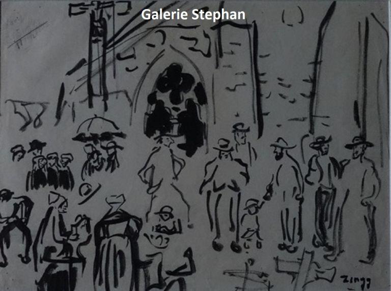 zingg- sortie de messe à l'église St Jacques à Perros-Guirec -