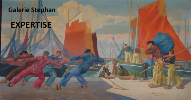 Emile Louis GUILLAUME - scène de port- Galerie Stephan